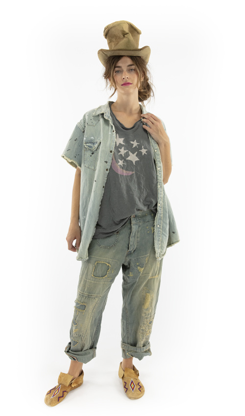 Cotton Denim MP Marfa Pearl Snap Workshirt with Distressing, Patching and Hand Mending, Magnolia Pearl