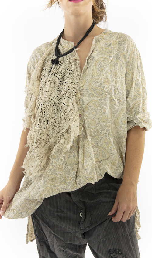 French Cotton Hand Block Print Ines Classic Shirt with MP Cross Stitch, Magnolia Pearl
