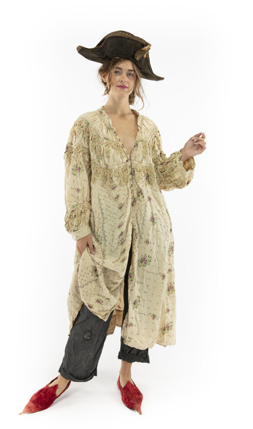 European Linen Albertine Opera Coat with Trim Accents, Embroidered Applique, Patching, Fading and Distressing, Antique Hooks Down Front, Magnolia Pearl, Provincial, One Size