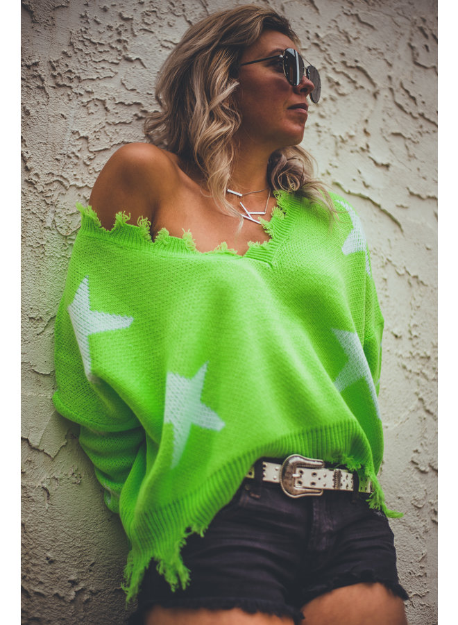 Neon Distressed Star Sweater
