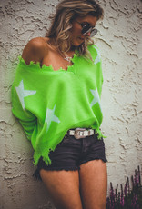 Neon Distressed Star Sweater