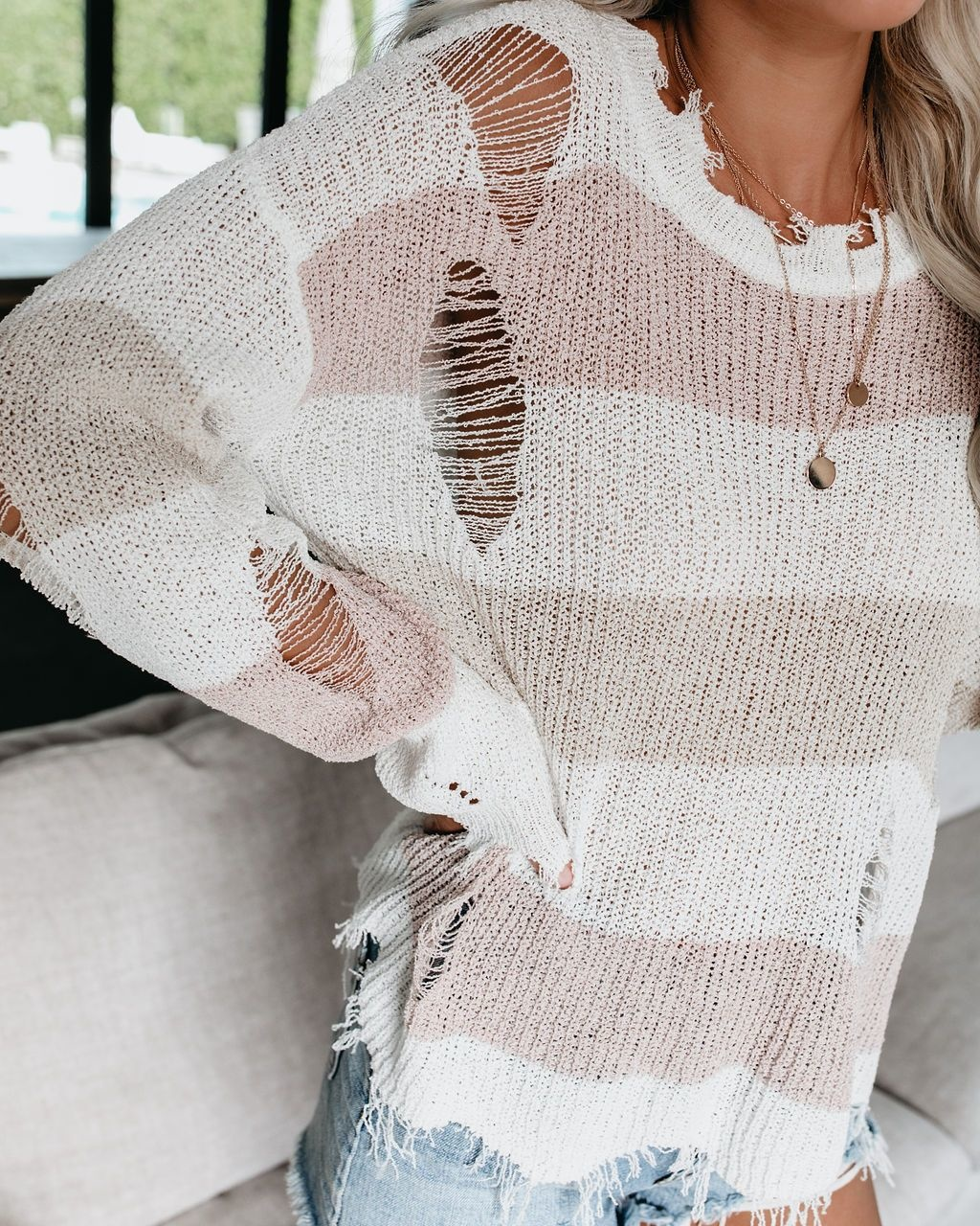 Distressed Stripe Sweater