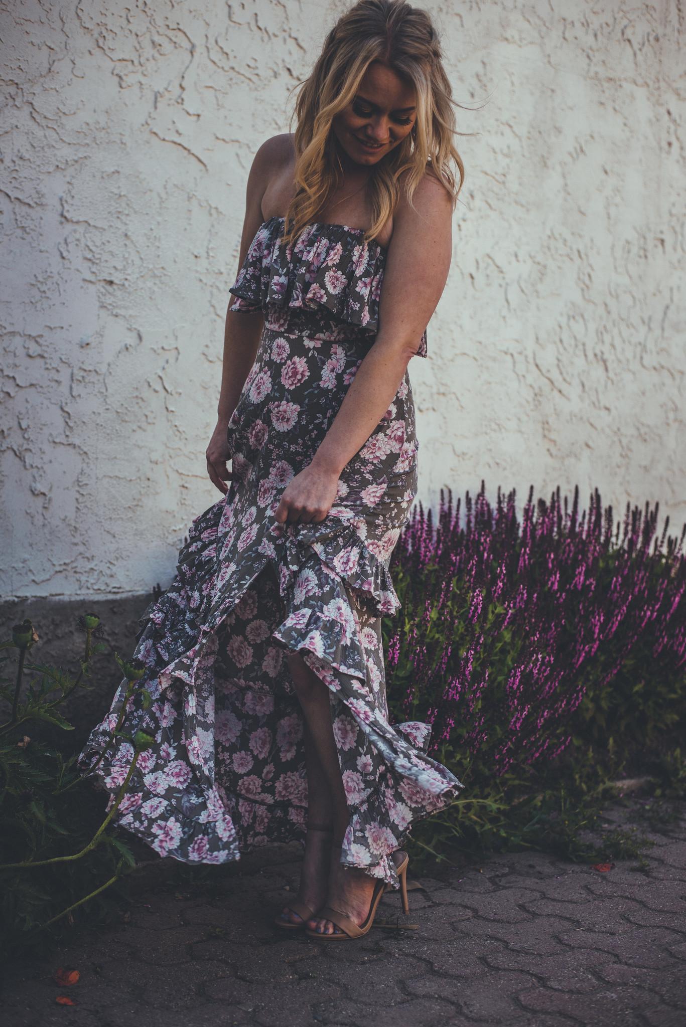 Floral Ruffle Top Maxi