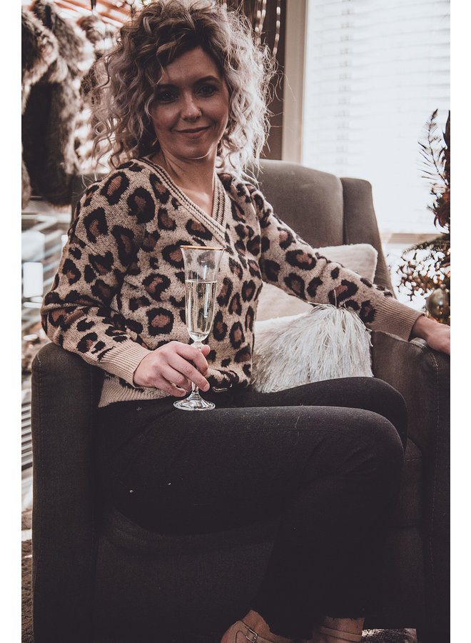 Ribbed Leopard Print Sweater