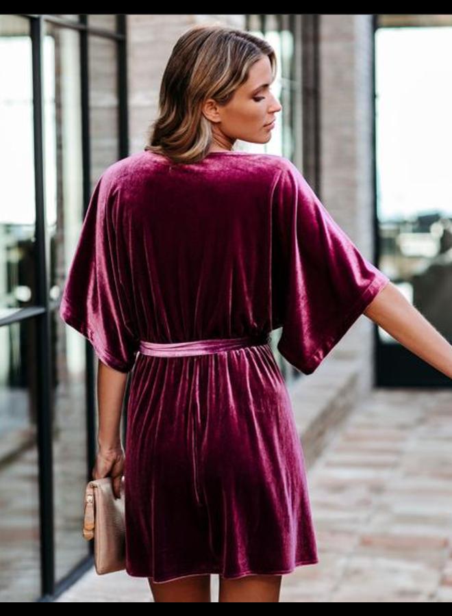 Kimono Sleeve Velvet Mini