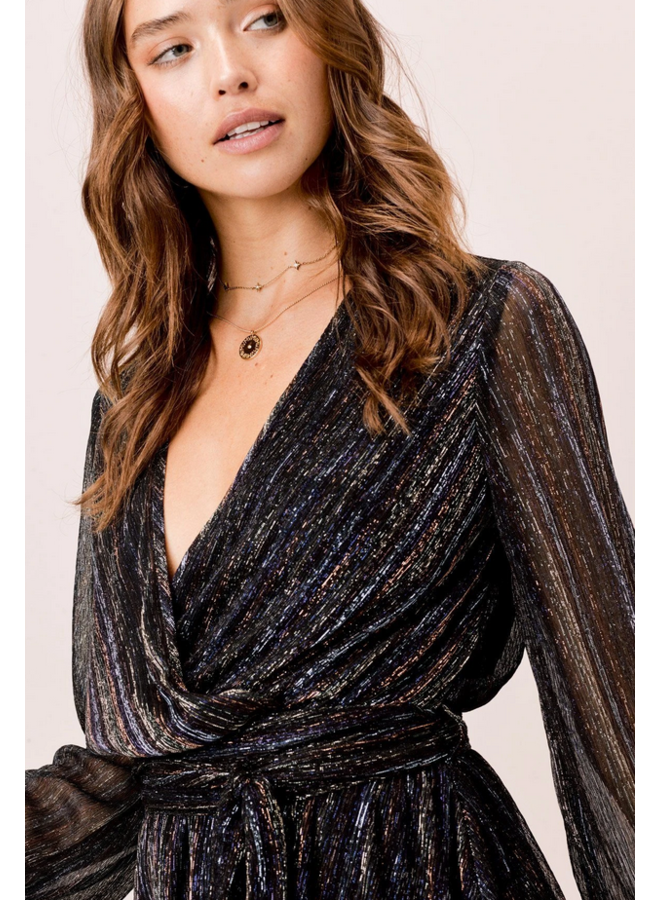 Metallic Long Sleeve Wrap Dress