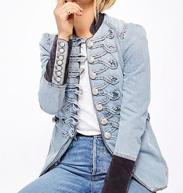 Free People Denim Seamed and Structured Jacket
