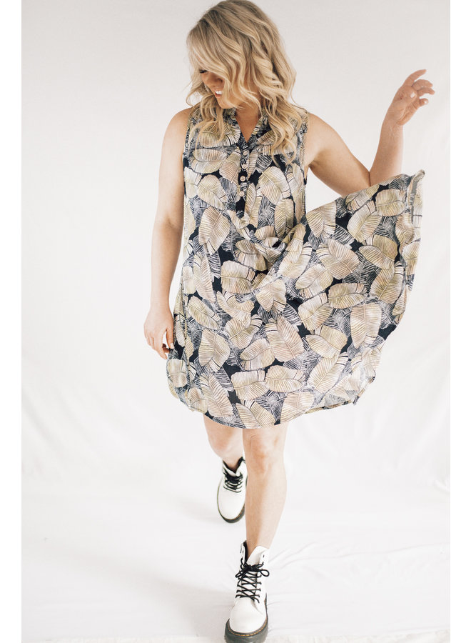 Leaf Henley Dress