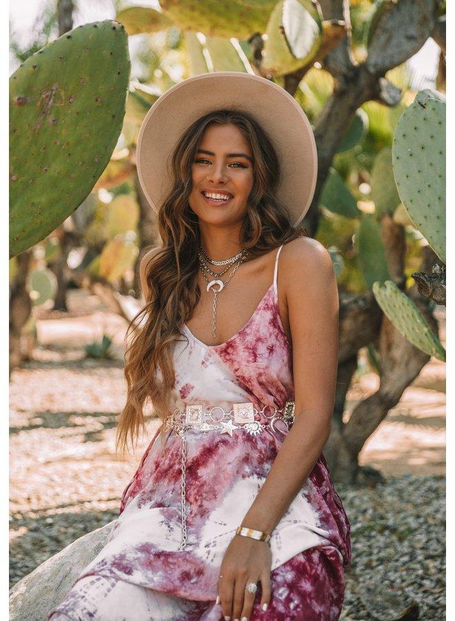 Tie Dye Print Sleeveless Cocoon Maxi Dress