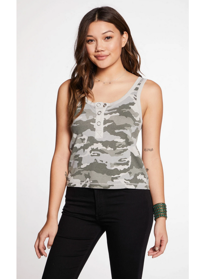 Rib Double Scoop Henley Tank