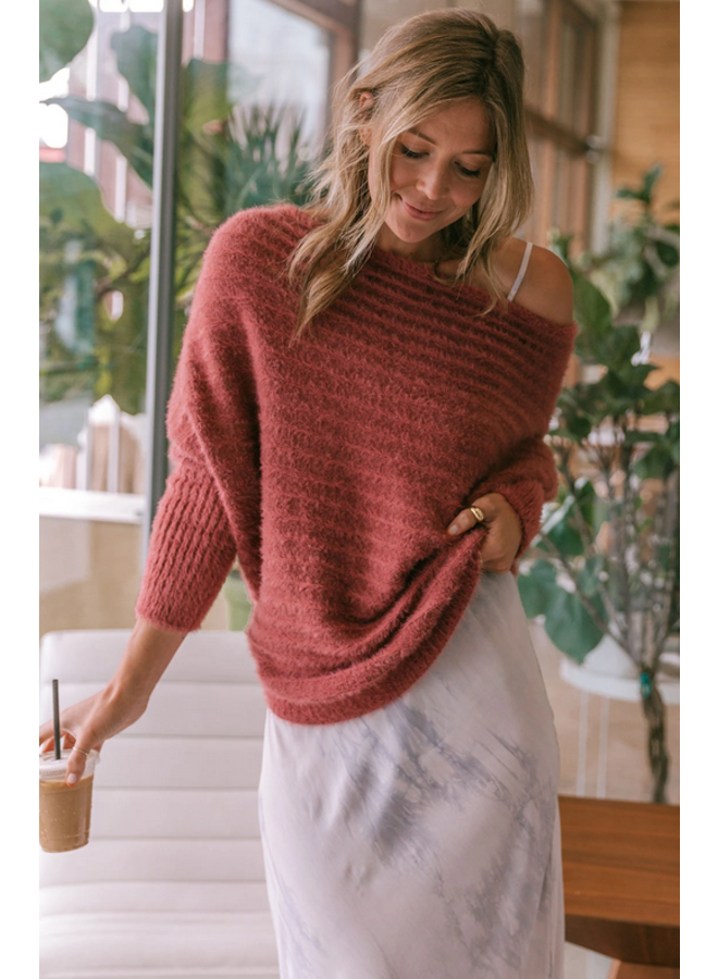 Blissful Fuzzy Ribbed Sweater