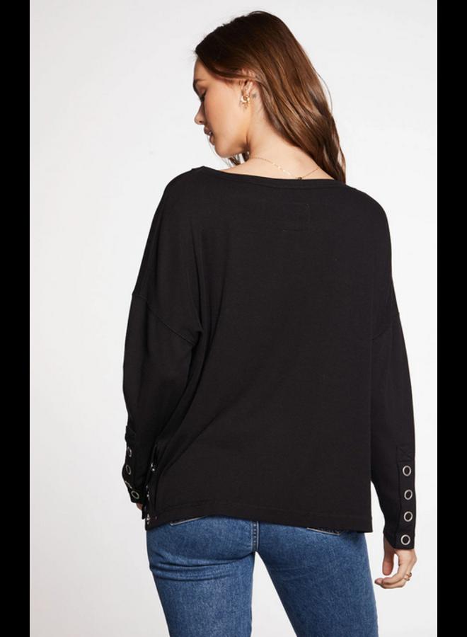 Rib Snap Side Pullover
