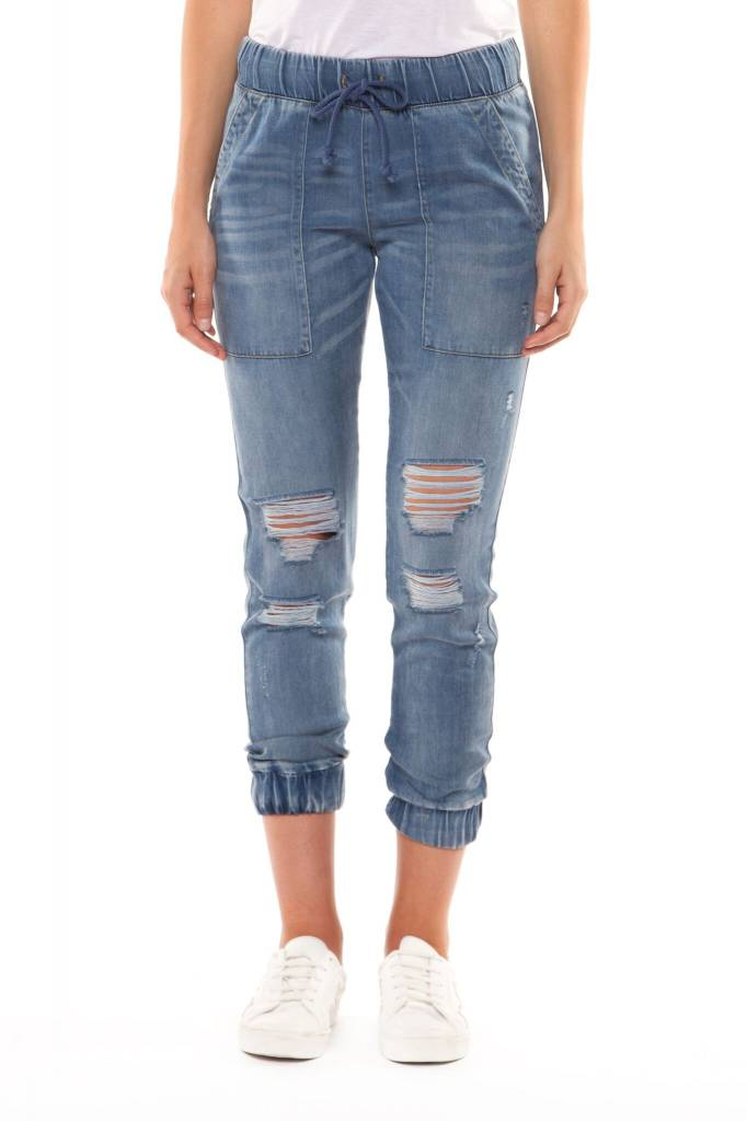 Washed Out Tencil Ripped Jogger