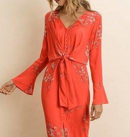 Dress Forum Floral Tie-Front Dress