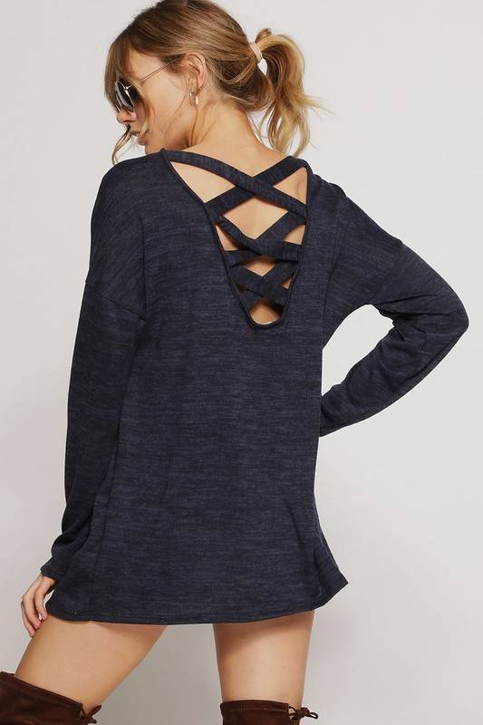 Navy Brushed Cage Back Top