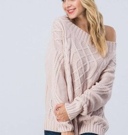 Mauve Off Shoulder Sweater