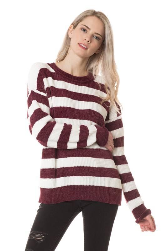 Wine Striped Sweater