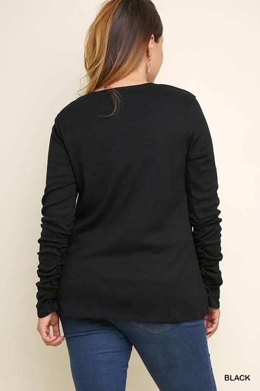 Black Gathered Sleeve Top