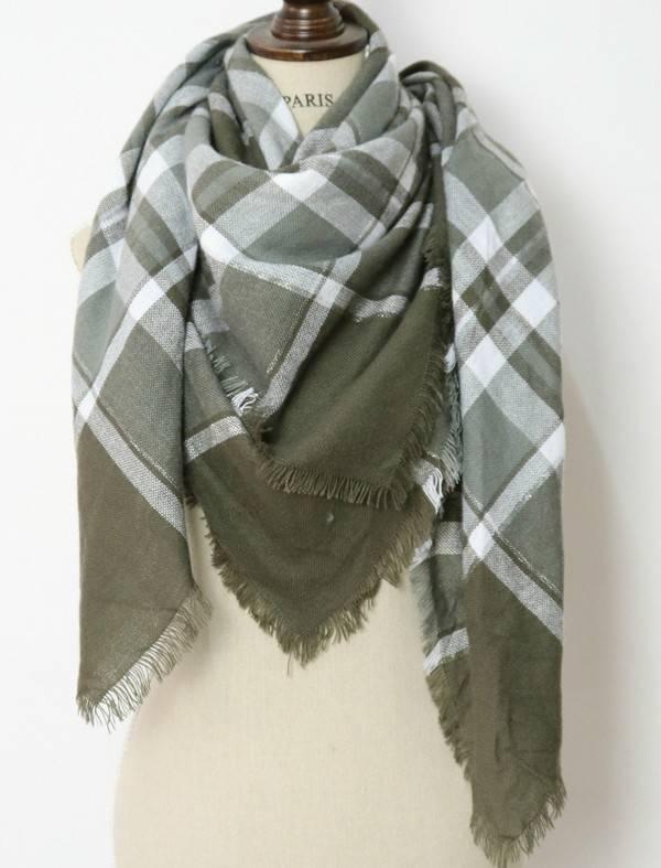 Olive/Cream Blanket Scarf