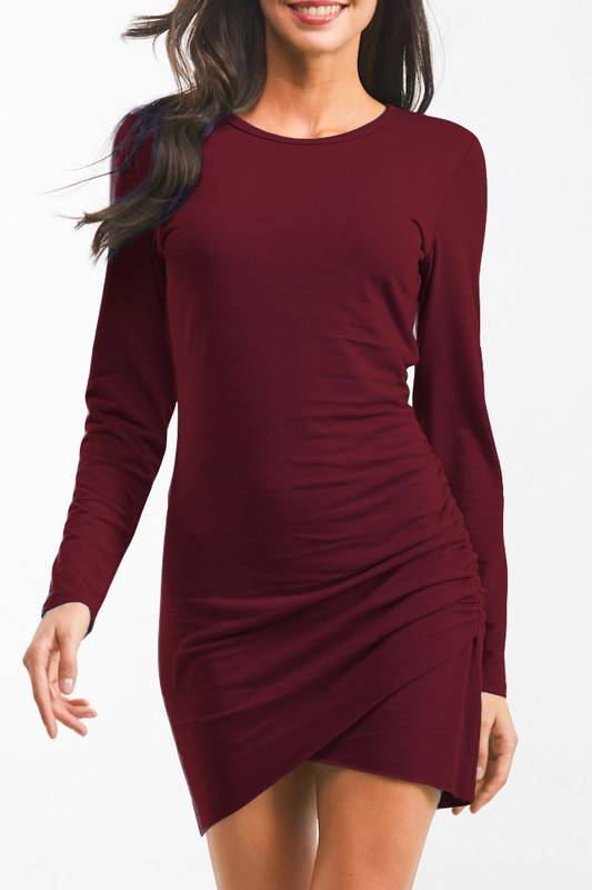 Burgundy LS Cross Dress