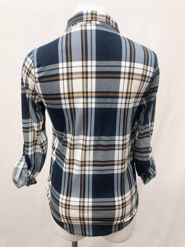 Navy/Mustard Plaid Top