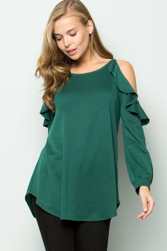 Emerald Cold Shoulder Top