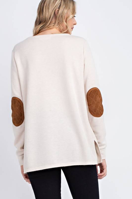 Oatmeal/Camel Suede Sweater