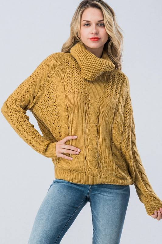 Mustard Cowl Neck Sweater