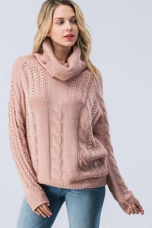 Mauve Cowl Neck Sweater