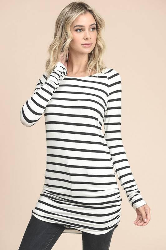 Ivory/Black Striped Tunic
