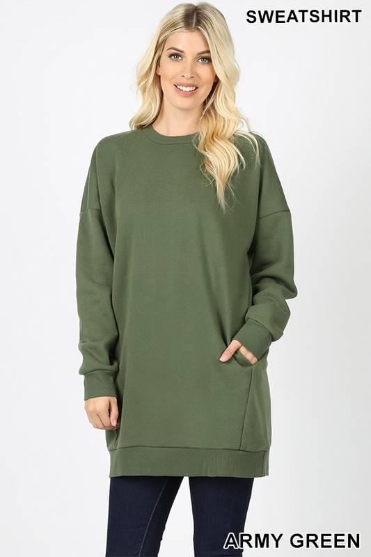Olive Oversized Sweatshirt