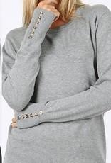 Grey Button Sleeve Top