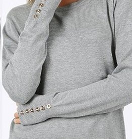 Grey Button Sleeve Top