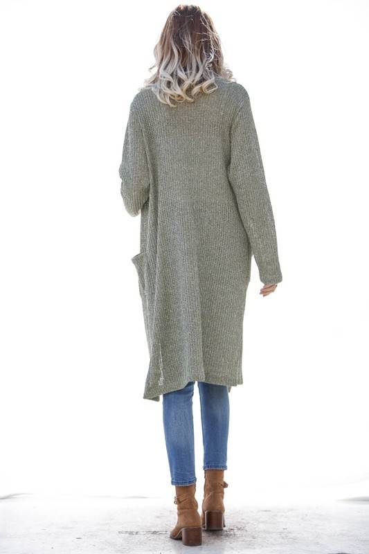 Olive Long Duster Cardigan