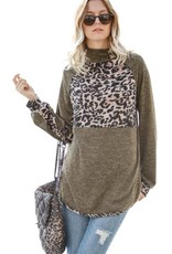 Olive/Leopard Knit Top