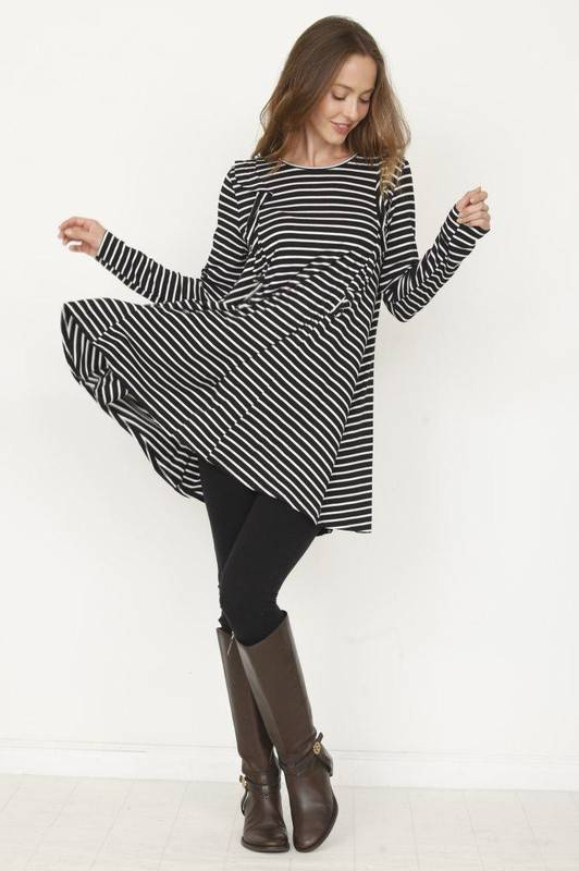 Black Striped A-Line Dress