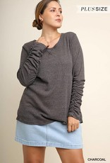 Charcoal Gathered Sleeve Top