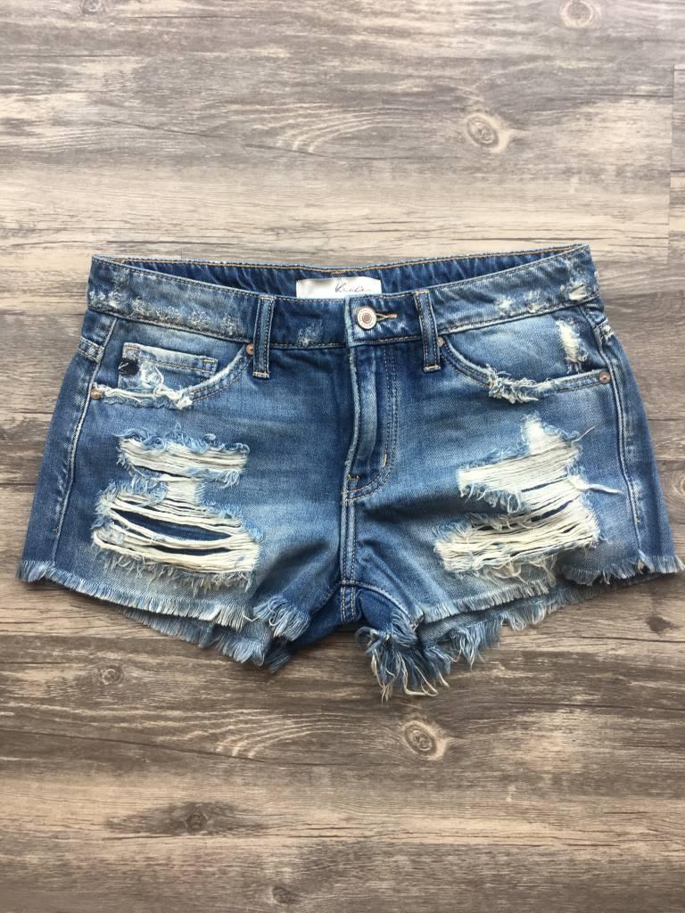 KC Frayed Denim Shorts
