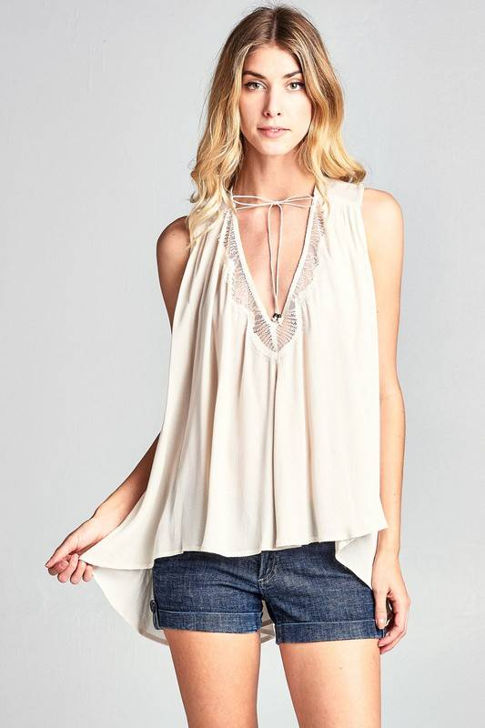 Taupe Lace Trimmed Top