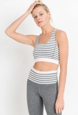 Heather Grey Stripe Sports Bra