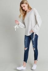 Ivory/Black Stripe Top
