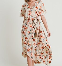 Taupe Floral Maxi Dress