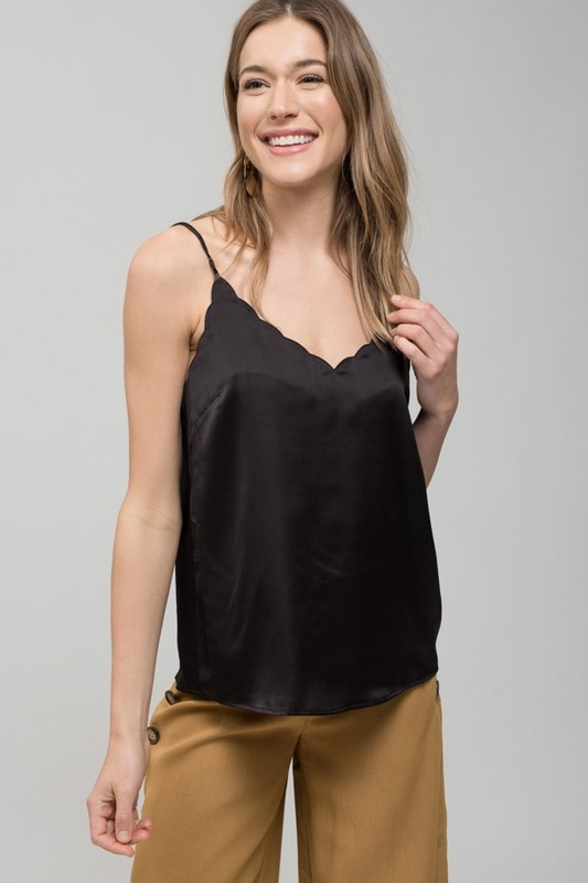 Black Satin Scallop Tank