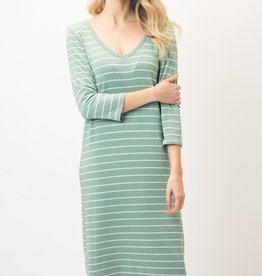 Moss Striped Midi Dress