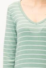 Moss Striped Midi Dress