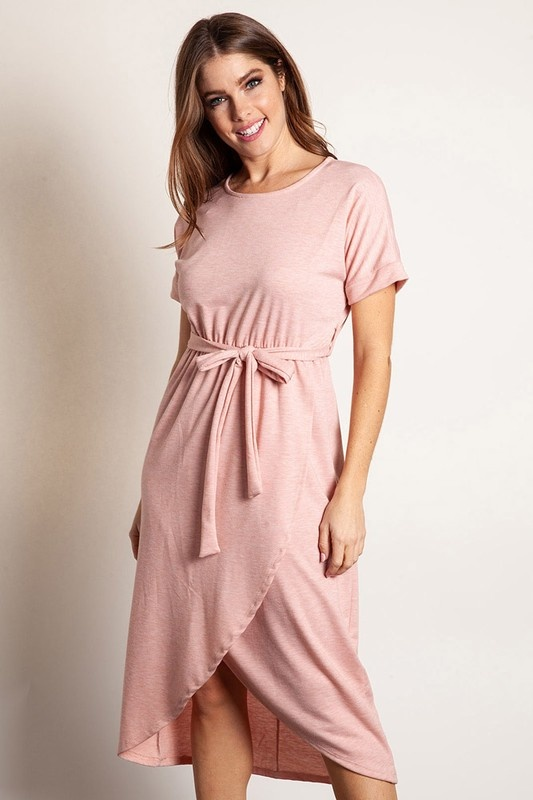 Faded Rose Wrap Dress