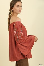 Clay Embroidered Top