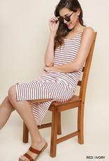 Red/Ivory Midi Dress