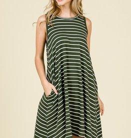 Olive Striped Swing Dress