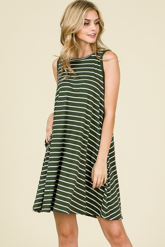 Olive Striped Swing Dress
